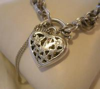 "Vintage Silver Bracelet 1970s Ornate Heart Padlock 7 1/2"" Length 13.3 Grams (6 of 11)"
