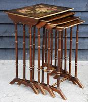 Beautiful Victorian Hand Painted Quartetto of Tables / Nest of Tables c.1900 (3 of 8)