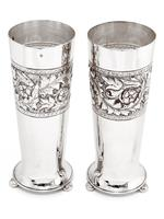 Pair of Antique Walker & Hall Silver Plated Flower Vases