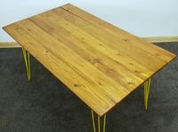 1960/70s Hairpin Legged Table With Later Pitch Pine Top (6 of 6)
