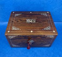 William IV Rosewood Jewellery Box Inlaid with Beautiful Mother of Pearl (4 of 14)