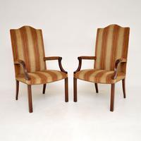 Pair of Georgian Style Mahogany Gainsborough Armchairs