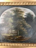 Antique Georgian landscape oil painting of boy in woods 1 of 2 (4 of 9)