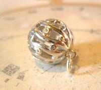 Victorian Revival Pocket Watch Chain Fob 1970s Vintage Puffy Chrome Ball Fob (3 of 6)