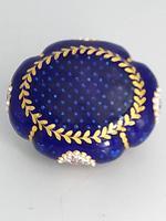 Blue Enamel Bonboniere with Flowers & Gilt Designs Pill Box (5 of 8)