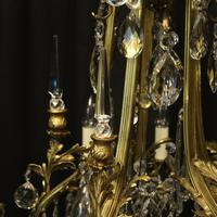 French Gilded Bronze & Crystal Antique Chandelier (7 of 10)