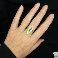 Vintage 18ct Gold Emerald & Diamond Marquise / Navette Cluster Ring c.1920s ~ With Independent Appraisal Valuation (4 of 9)