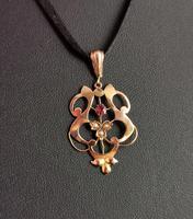 Antique Art Nouveau Lavalier Pendant, Ruby & Pearl, 9ct Gold (7 of 10)