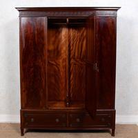 Triple Compactum Wardrobe Flame Mahogany 19th Century (2 of 12)