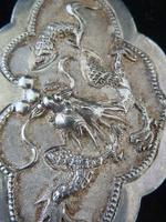 Fine Chinese Solid Silver Buckle #2 Dragons & Lingzhi Fungus (5 of 5)