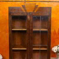 Art Deco Oak Glazed Bookcase (2 of 11)