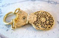 Georgian Pocket Watch Chain Fob 1830s Antique Brass Verge Balance Cock Fob (4 of 10)