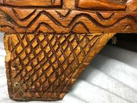 Large vintage Chinese tribal camphor wood carved chest coffee table (7 of 12)
