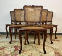 Vintage French Louis Style Set Of 6 Cherry Wood Bergère Cane Dining Chairs (3 of 10)