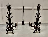 Very Large Heavy Pair of French Iron Andirons (3 of 8)