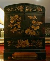 Japanese Meji Period Black Lacquer Table Cabinet
