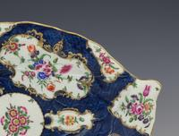 Large First Period Worcester Porcelain Blue Scale Leaf Dish c.1770 (2 of 8)