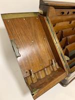 Victorian Burr Walnut Brass Bound Desktop Stationery Cabinet (7 of 15)