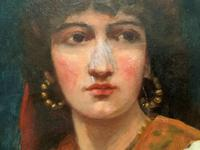Fine Original 19th Century Antique Portrait Oil Painting of a Stunning Young Gypsy Girl (6 of 11)