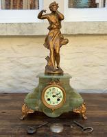 Elegant Tall 19th Century French Gilt Metal & Onyx Garniture Mantel Statue Clock Set (7 of 13)