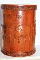 Superb & Finely Carved Chinese Hardwood Brush Pot (3 of 8)