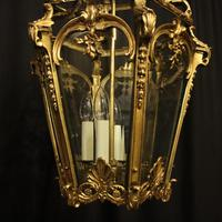 French 19th Century Gilt Bronze Antique Hall Lantern (2 of 10)