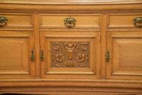 Edwardian Light Oak Carved Mirror-back Sideboard (6 of 17)