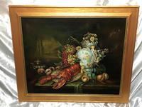 German 20th Century Oil Painting Banquet Red Lobster Serving Tray Peaches Grapes (2 of 23)