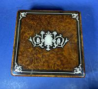 Victorian French Burr Cedar Jewellery Box with Inlay & Original Interior (4 of 13)