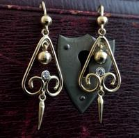 Antique Victorian Diamond Drop Earrings, 15ct Gold (10 of 10)