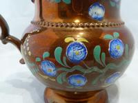 Charming 19th Century Copper Lustre Floral Jug (5 of 7)