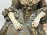 Important Art Nouveau Bronze Marble Seated Lady Sculpture By Xavier Raphanel (7 of 39)