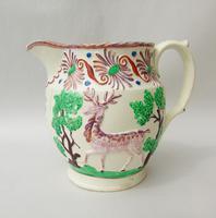 Attractive Pink Lustre Creamware Jug With Deer c.1820 (2 of 7)