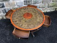 Quality Mahogany & Leather Drum Coffee Table (3 of 8)