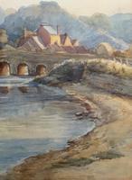 Large Original 19th Century Antique Yorkshire Landscape Watercolour Painting (9 of 11)