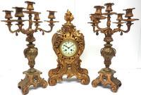 Impressive Candelabra Clock Set French Rococo Ormolu Bronze Mantel Clock. (3 of 10)