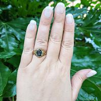 Vintage 9ct Yellow Gold Green Synthetic Spinel Dress Ring, Imitation Tourmaline (2 of 10)