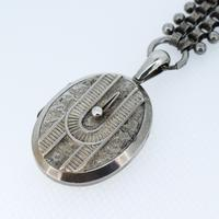 Antique Victorian Aesthetic Large Sterling Silver Locket & Collar Necklace (5 of 8)