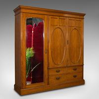 Antique Master Bedroom Wardrobe, Satinwood, Cupboard, Maple & Co, Edwardian
