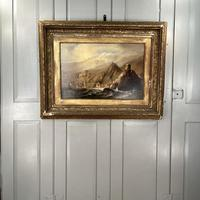 Antique Victorian Large Marine Seascape Oil Painting of Sailing Boats (10 of 10)