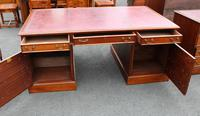 Quality 1960s Mahogany Partners Desk with Red Leather on Top (2 of 4)