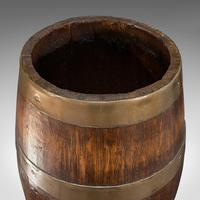 Antique Coopered Barrel, English, Oak, Brass, Stick Stand, Late Victorian c.1900 (7 of 10)
