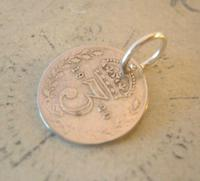 Antique Pocket Watch Chain Fob 1920 Silver Lucky Three Pence Old 3d Coin Fob (3 of 6)
