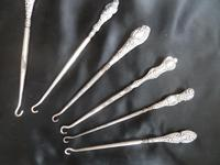 Ten Silver Handled Button Hooks. All Are Birmingham Assayed with the Anchor Mark. Dated from 1848/1899/1904/1910 Others with Rubbed Marks (2 of 6)