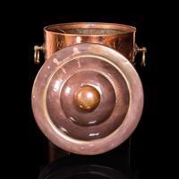 Antique Fireside Bin, English, Copper, Brass, Decorative, Scuttle, Edwardian (3 of 12)