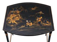 Victorian Oriental Chinoiserie Nest of Decorated Black Lacquer Tables (7 of 10)