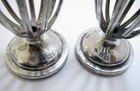 Antique English Edwardian (1911) Solid Sterling Silver & Bristol Blue Glass Salt Cellar Pepper Shaker Pots Cruet Set (5 of 7)