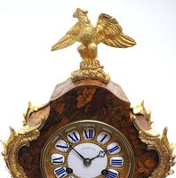 Wow! Phenomenal French Boulle Mantel Clock Multi Wood floral inlay 8 Day Mantle Clock (5 of 6)