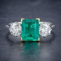 Art Deco Colombian Emerald Diamond Trilogy Ring Platinum 18ct Gold 2.55ct Emerald With Cert (6 of 9)