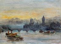 Superb Original 1921 View of Westminster, London Seascape Oil Painting (8 of 12)